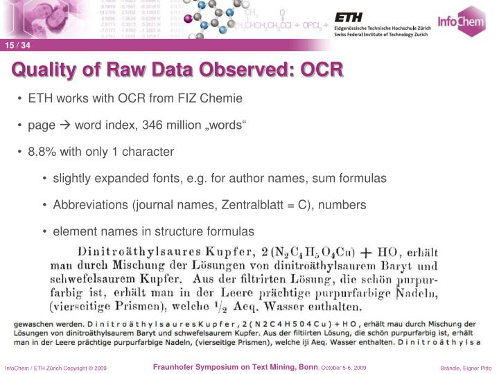 Quality of Raw Data Observed: OCR
