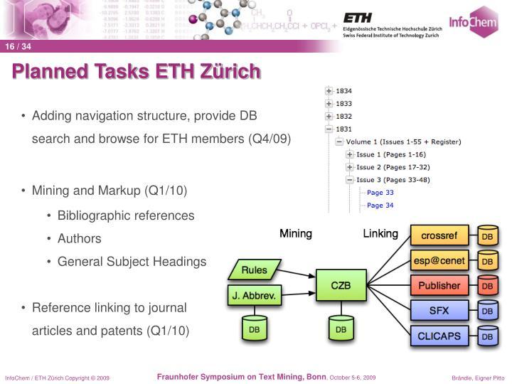 Planned Tasks ETH Zürich