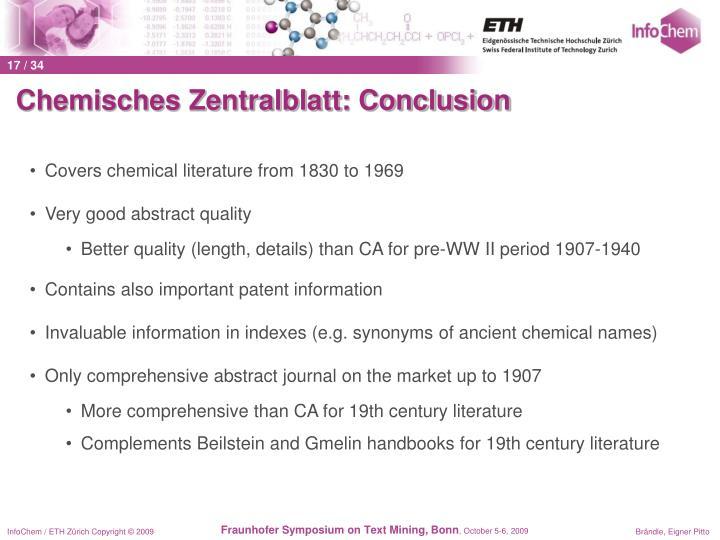 Chemisches Zentralblatt: Conclusion