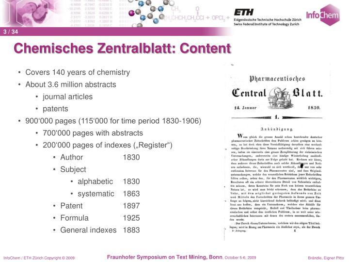 Chemisches Zentralblatt: Content