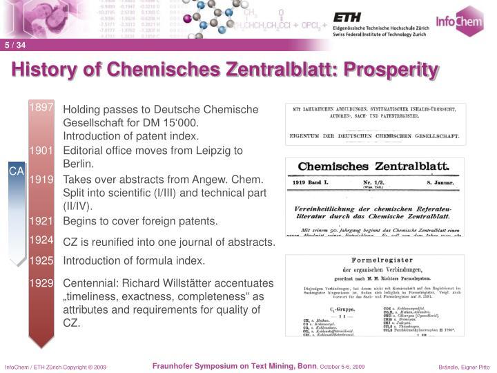 History of Chemisches Zentralblatt: Prosperity