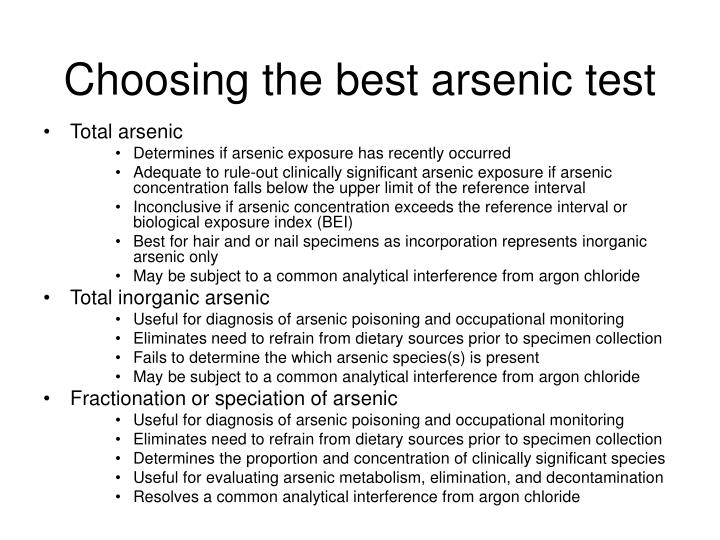 Choosing the best arsenic test