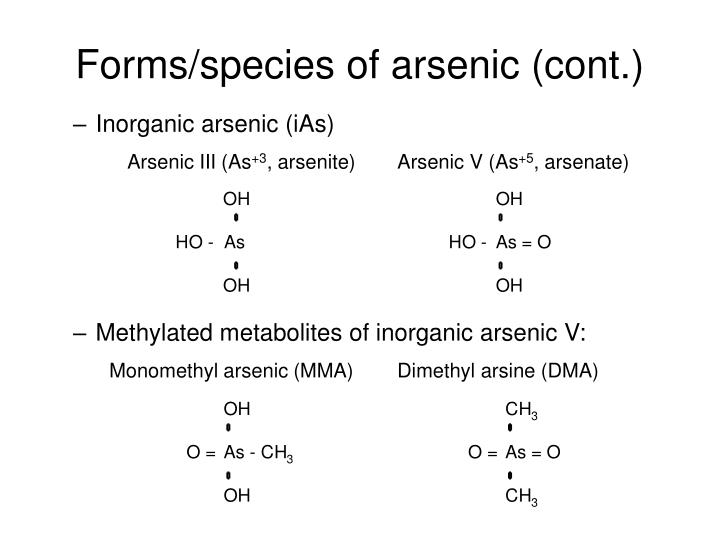 Forms/species of arsenic (cont.)