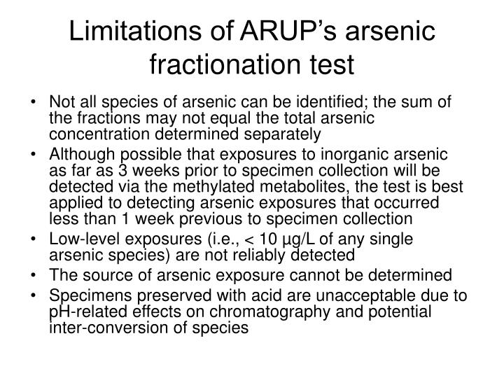 Limitations of ARUP's arsenic fractionation test