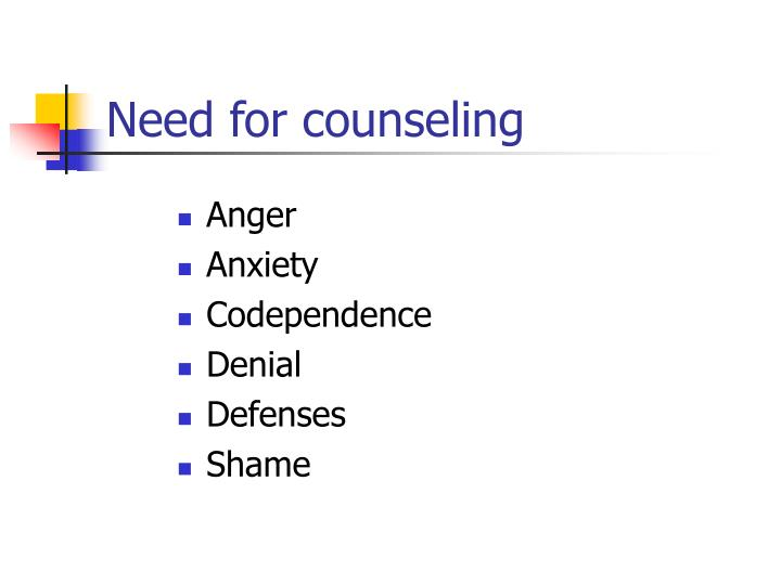 Need for counseling