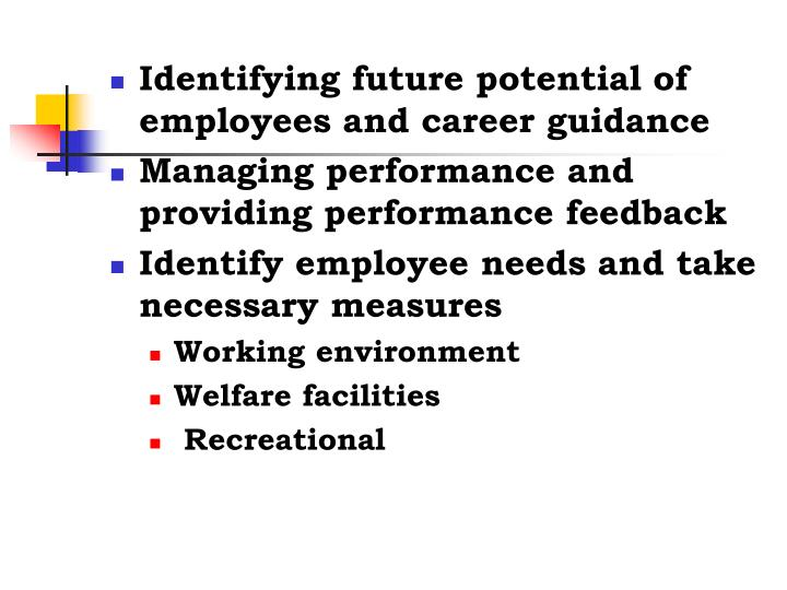Identifying future potential of employees and career guidance