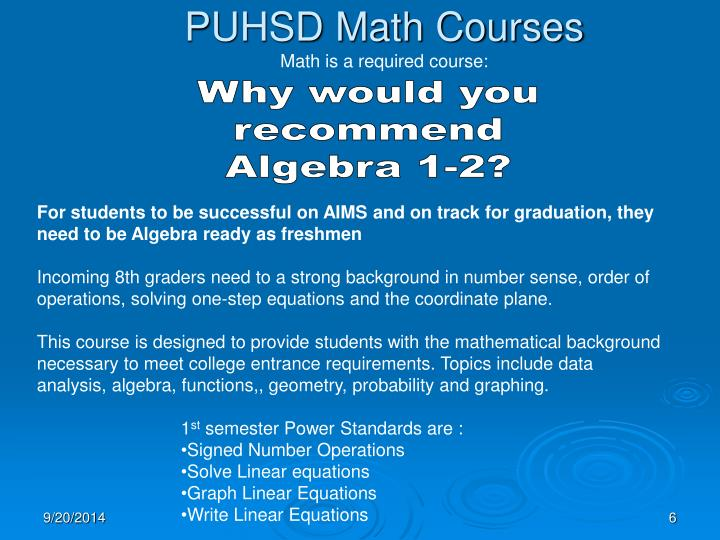 PUHSD Math Courses