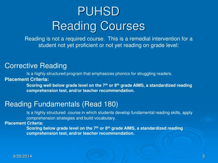 Puhsd reading courses