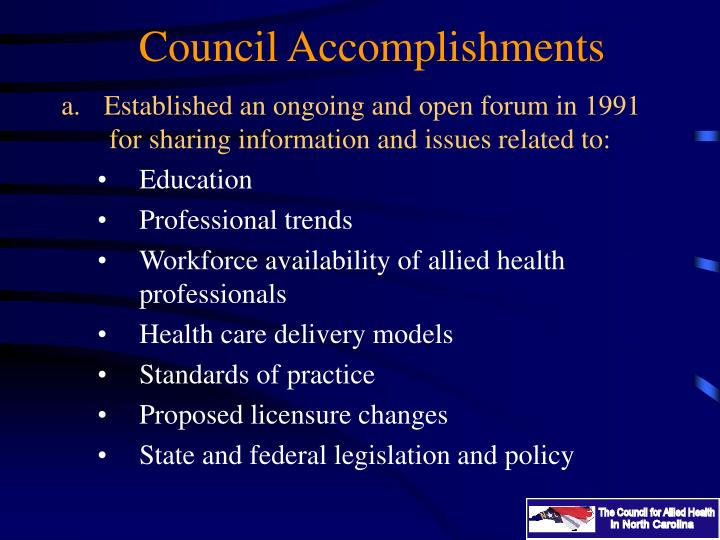 Council Accomplishments