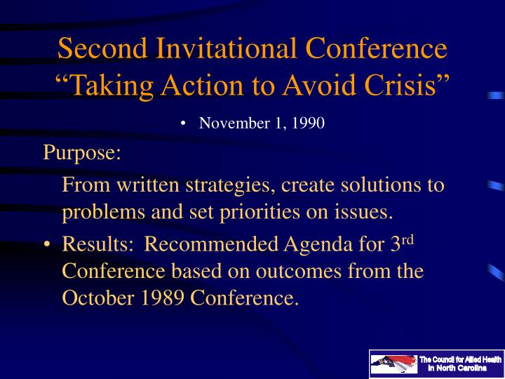 "Second Invitational Conference ""Taking Action to Avoid Crisis"""