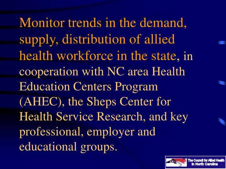 Monitor trends in the demand, supply, distribution of allied health workforce in the state