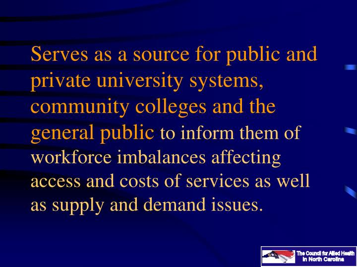 Serves as a source for public and private university systems, community colleges and the general public