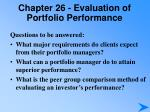 chapter 26 evaluation of portfolio performance