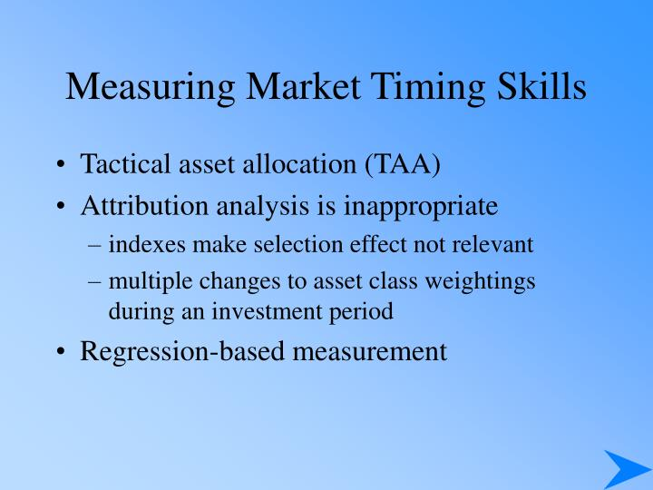 Measuring Market Timing Skills