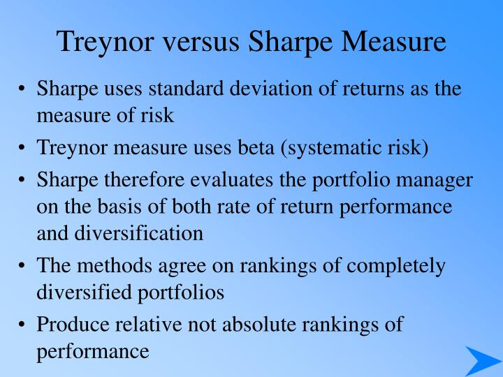 Treynor versus Sharpe Measure