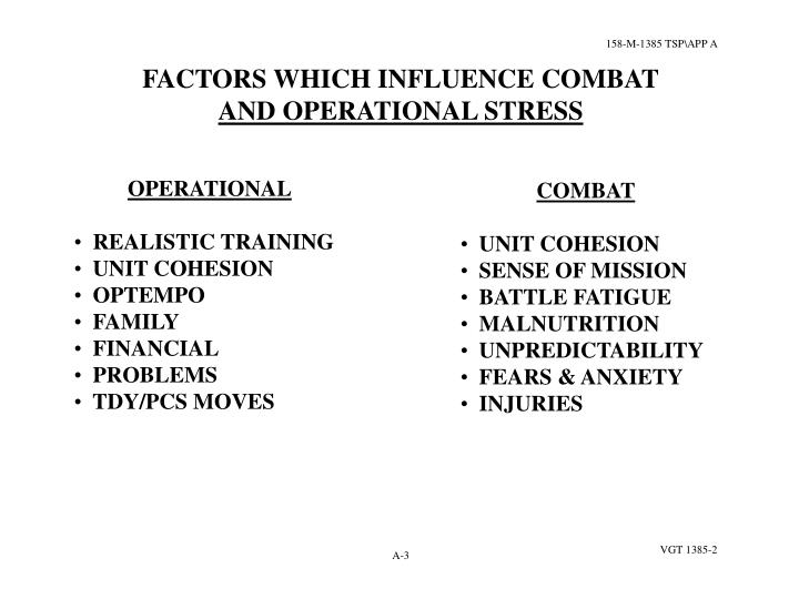 FACTORS WHICH INFLUENCE COMBAT