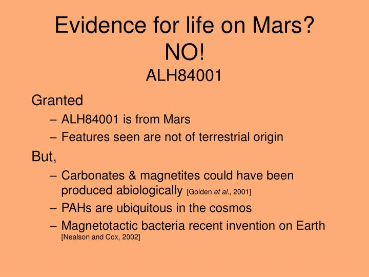 Evidence for life on Mars?   NO!