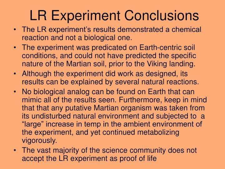 LR Experiment Conclusions
