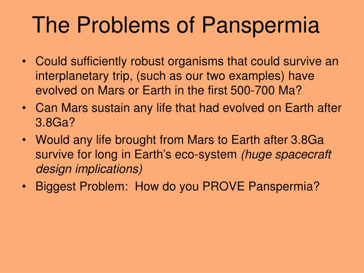 The Problems of Panspermia