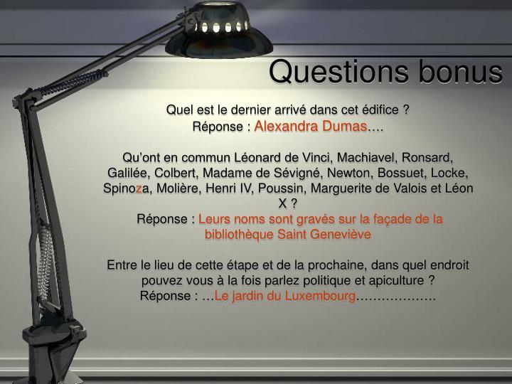 Questions bonus