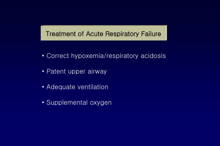 Treatment of Acute Respiratory Failure