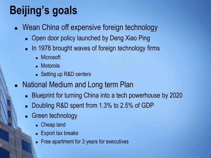Beijing's goals