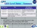 geo level status summary
