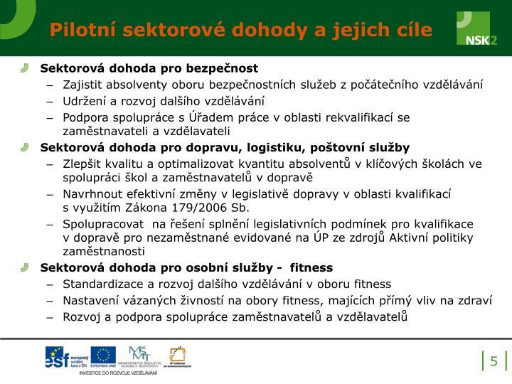 Pilotní sektorové dohody a jejich cíle