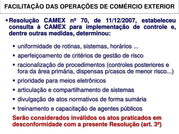 FACILITAÇÃO DAS OPERAÇÕES DE COMÉRCIO EXTERIOR