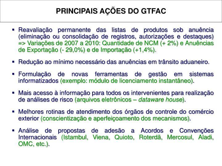 PRINCIPAIS AÇÕES DO GTFAC
