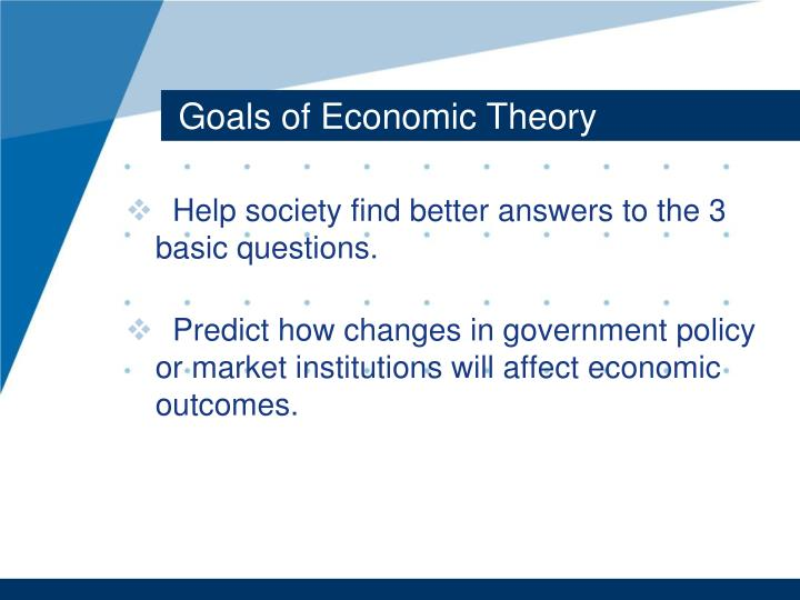 Goals of Economic Theory