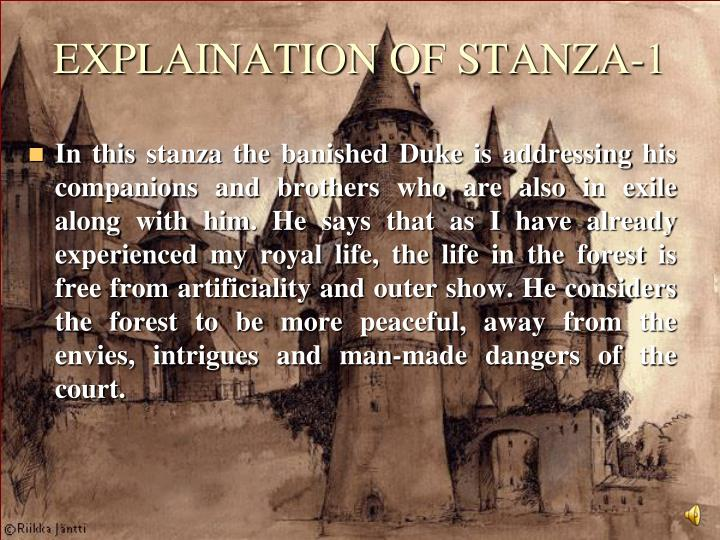 EXPLAINATION OF STANZA-1