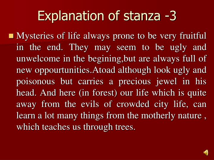 Explanation of stanza -3