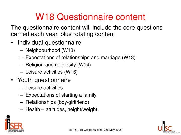W18 Questionnaire content