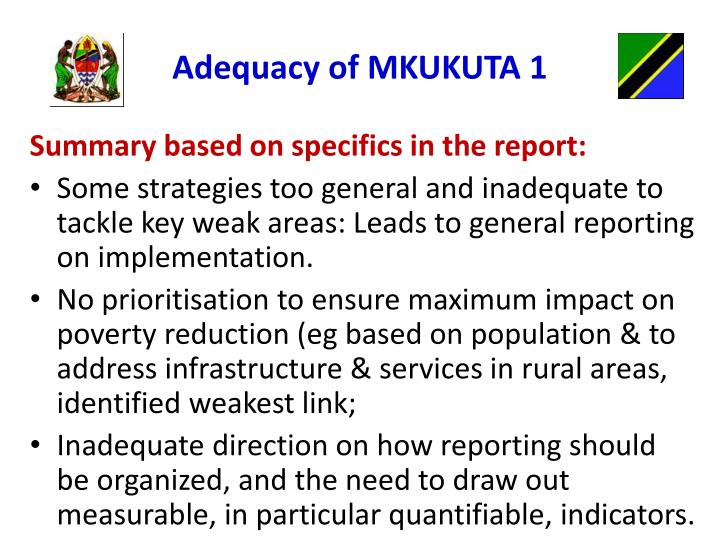 Adequacy of MKUKUTA 1