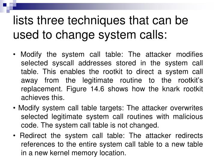 lists three techniques that can be used to change system calls: