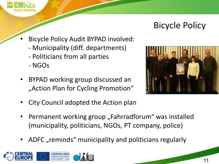 Bicycle Policy Audit BYPAD involved: