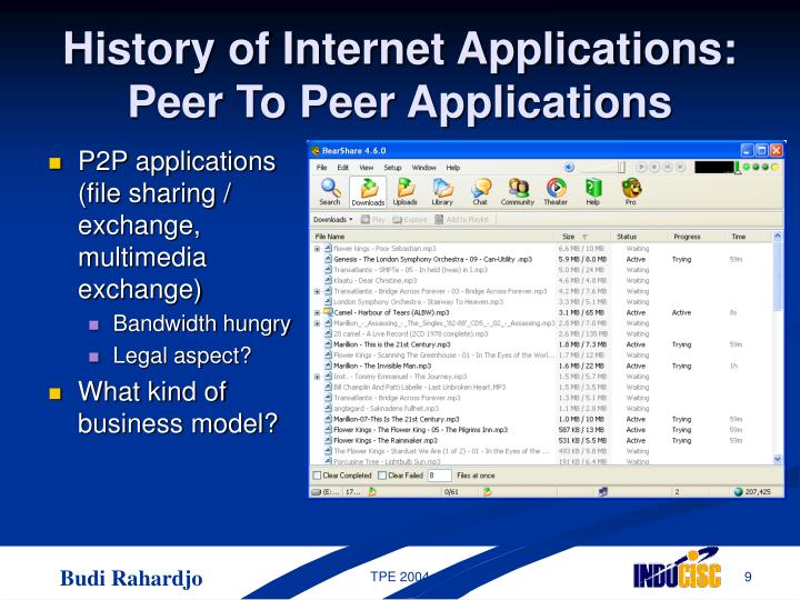 P2P applications (file sharing / exchange, multimedia exchange)