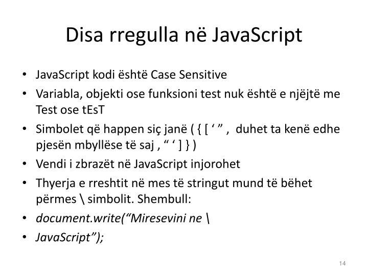 Disa rregulla në JavaScript