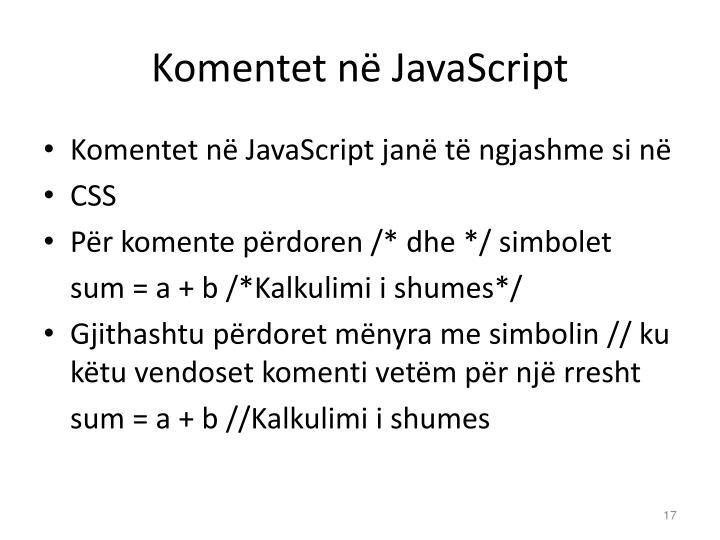 Komentet në JavaScript