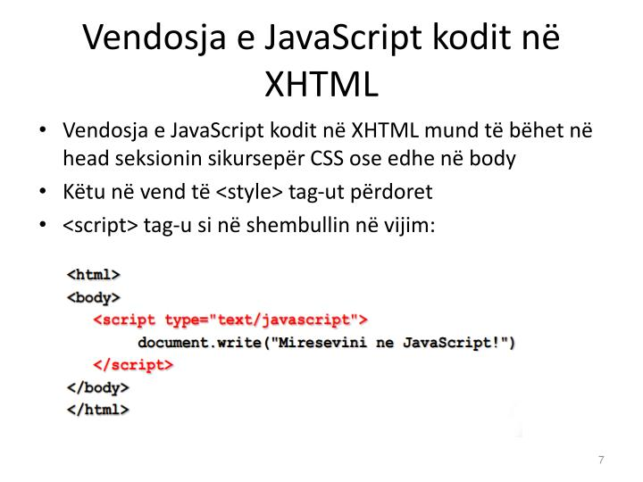 Vendosja e JavaScript kodit në XHTML