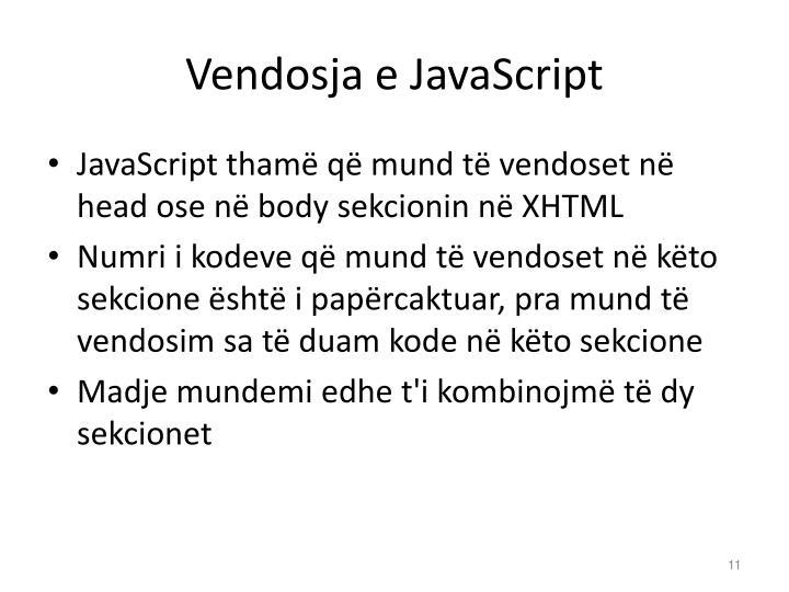 Vendosja e JavaScript