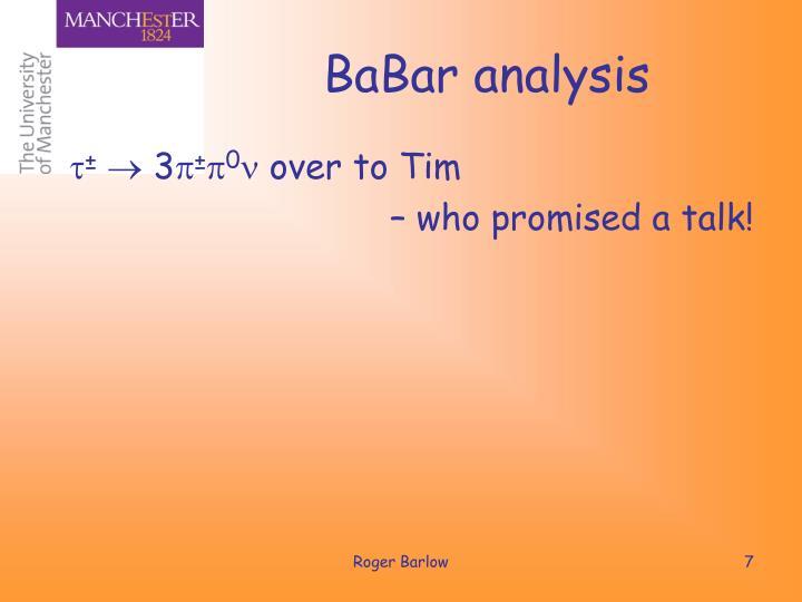 BaBar analysis