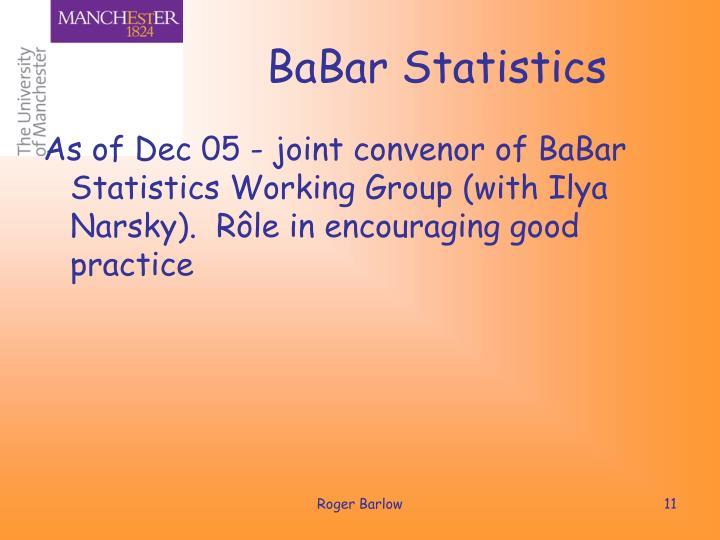 BaBar Statistics