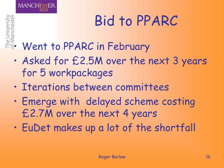 Bid to PPARC
