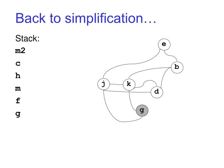 Back to simplification…