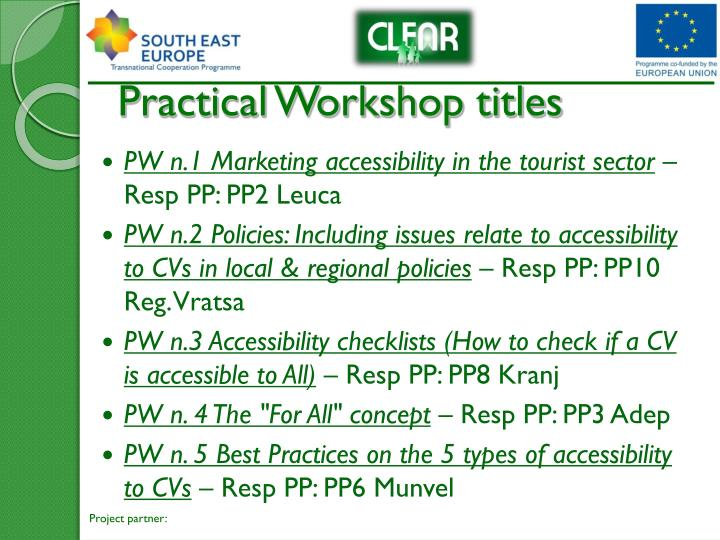 Practical workshop titles