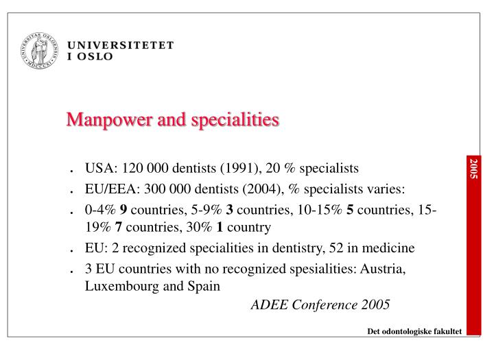 Manpower and specialities