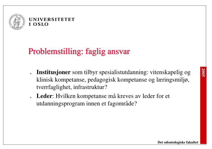 Problemstilling: faglig ansvar