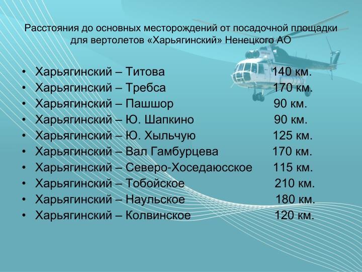 Расстояния до основных месторождений от посадочной площадки для вертолетов «Харьягинский» Ненецкого АО